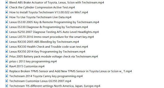 Toyota Techstream TIS User Video+PDF Guide-1